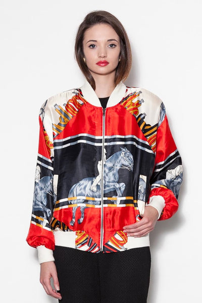 Vintage 80's Baroque Printed Equestrian Horse Bomber Jacket