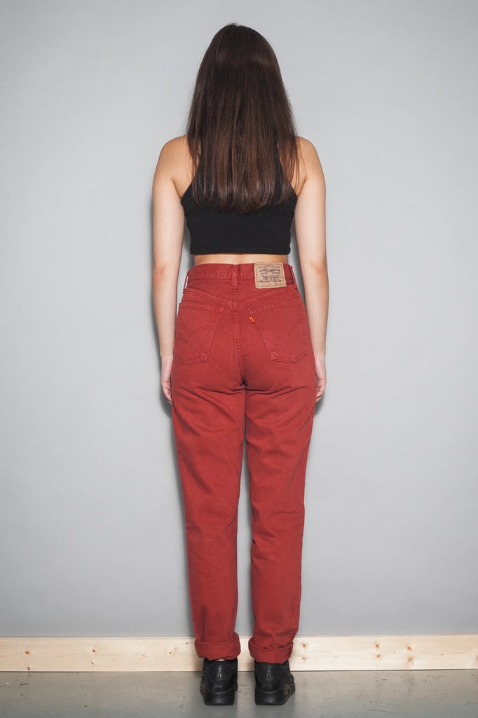 Vintage 90's Rust Red Denim Levis Levi's 881 Jeans
