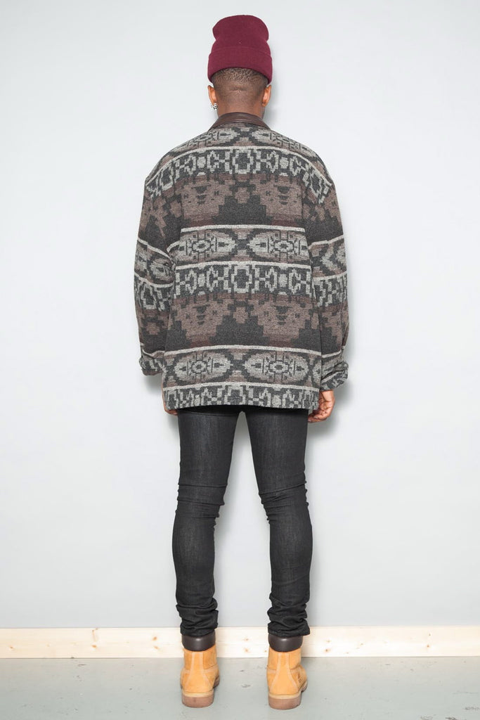 Vintage Grey Aztec Navajo Wool Blend Winter Coat