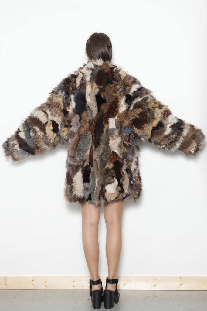Vintage 80's Multi-Colour Patch work Genuine Fur Coat