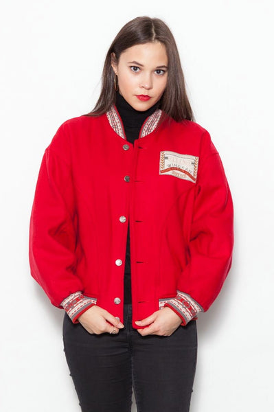 Red 90's Elleme Wool Varsity Jacket