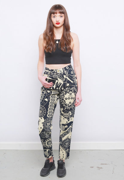 Rare Vintage 90's Moschino Pinball Print High Waisted Jeans