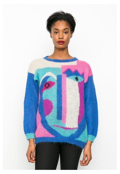 80's Vintage blue colour block Picasso face Jumper