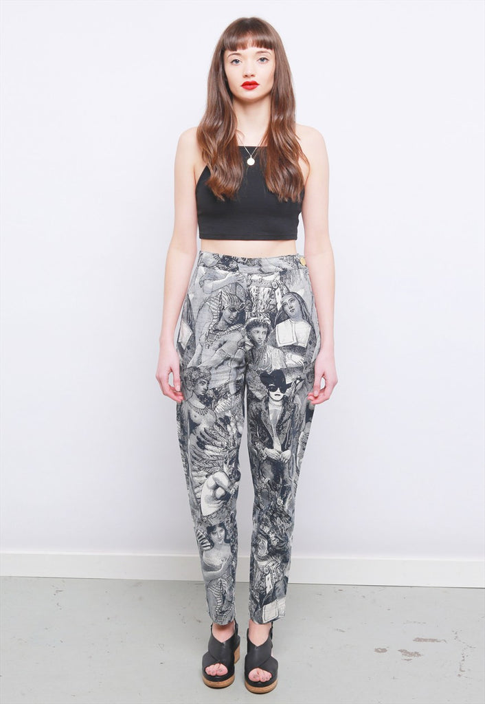 Rare Vintage 90's Moschino Renaissance Print Jeans Trousers
