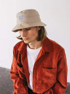 Stone Woven Label Bucket Hat