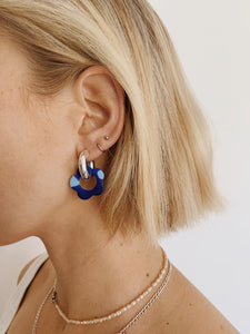 Multi Blue Daisy Hoops