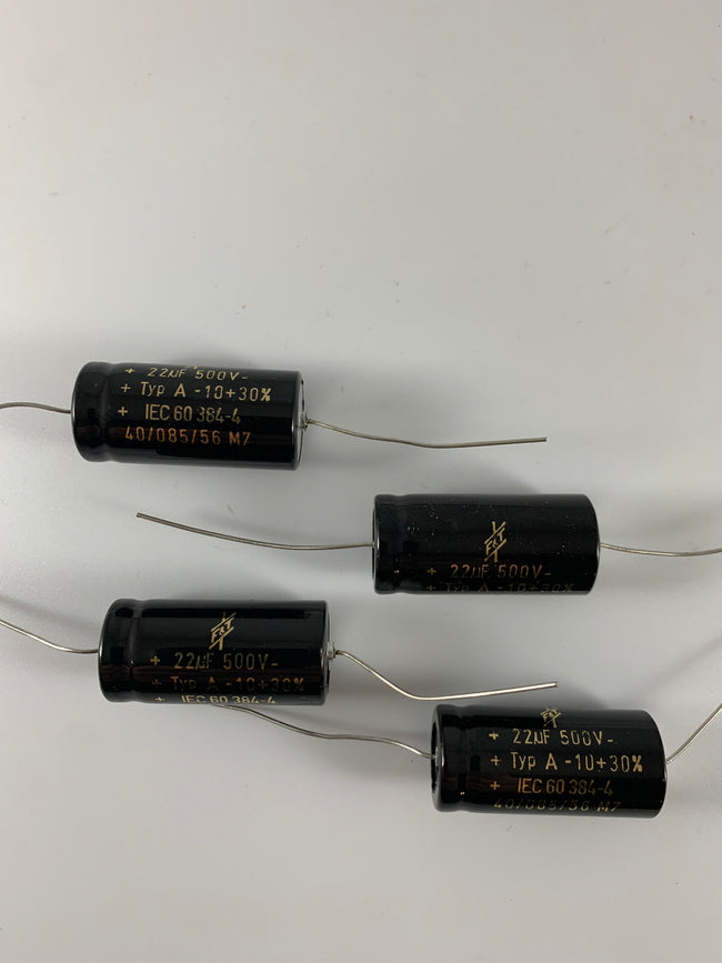 22uF @ 500 VDC F&T Electrolytic Capacitor 22uF @ 500 VDC F&T Electrolytic Capacitor