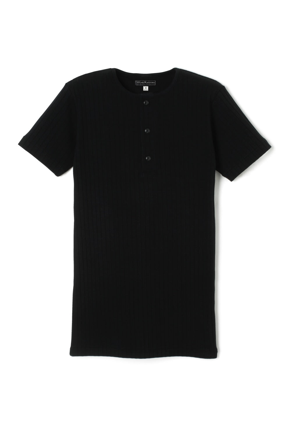 Lot.426 Dropped Stitch Henley Tee -Black-