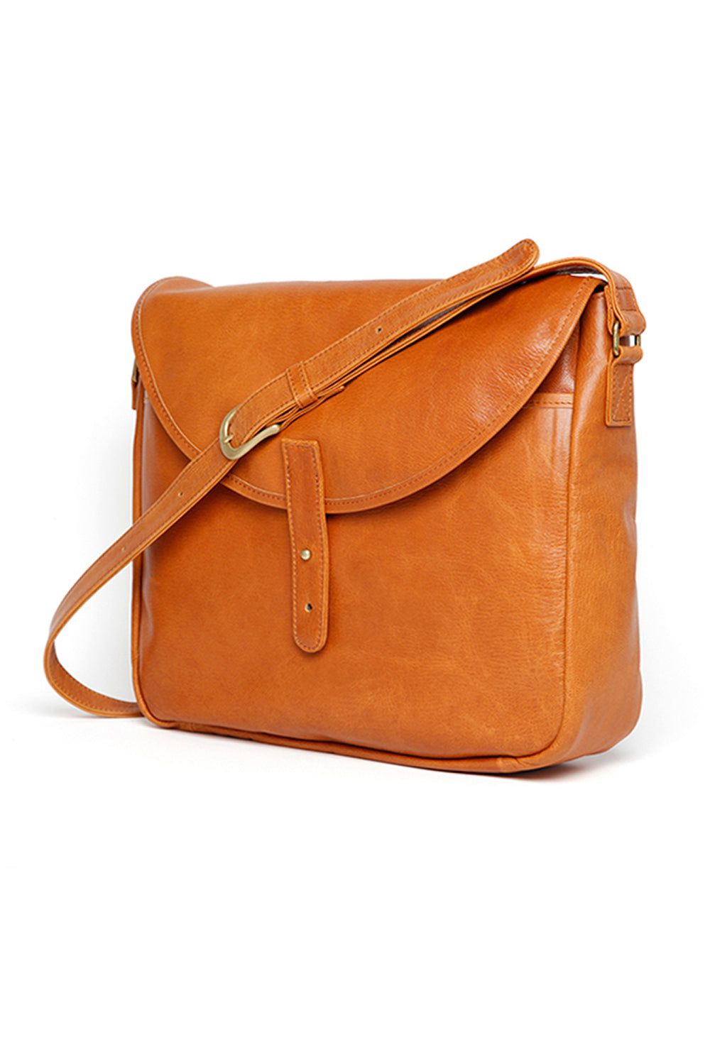 Lot.675 Leather Shoulder Bag / Goatskin -Camel-