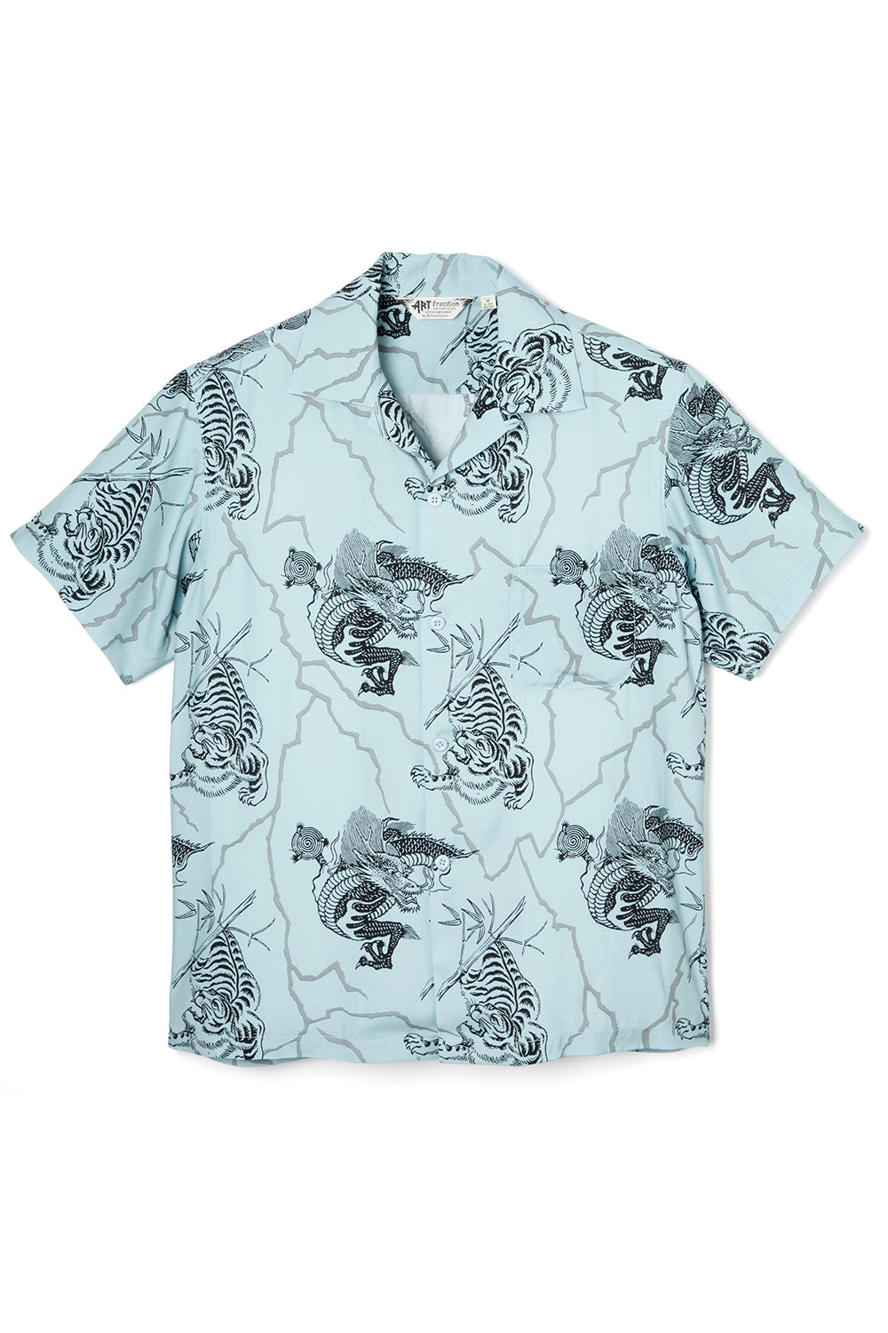 ART057 Tiger&Dragon Rayon Shirt -Sax-