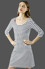 Load image into Gallery viewer, SAINT JAMES ANGOULEME A-Line Striped Dress With Ballerina Scoop Neckline