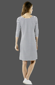SAINT JAMES ANGOULEME A-Line Striped Dress With Ballerina Scoop Neckline