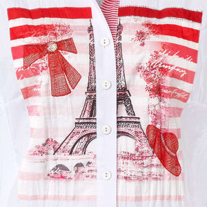SE -JUST WHITE  Blouse - Red Front Print