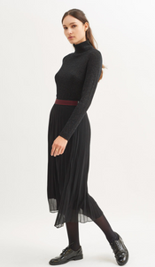 SAINT JAMES ANNA Black Voile Pleated Midi Skirt