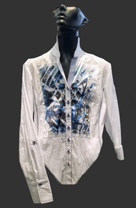 SE -JUST WHITE Blouse - Blue Front Print