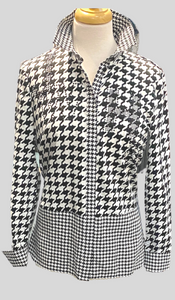 SE - JUST WHITE Houndstooth Long Sleeves Blouse