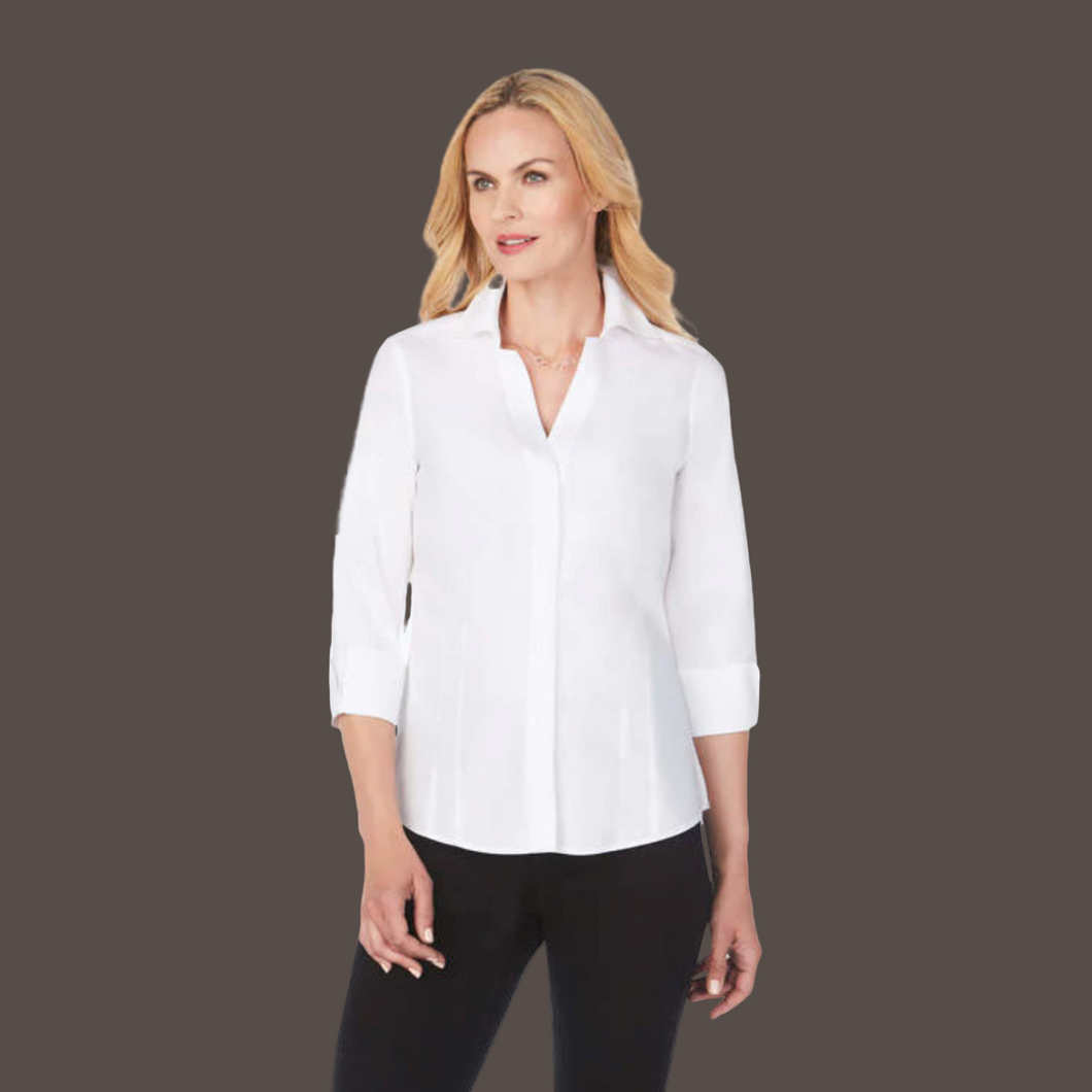 FOXCROFT DIANNA Non-Iron Pinpoint Shirt with Darts