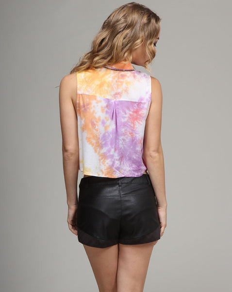 Tie Dye Collar Button down top