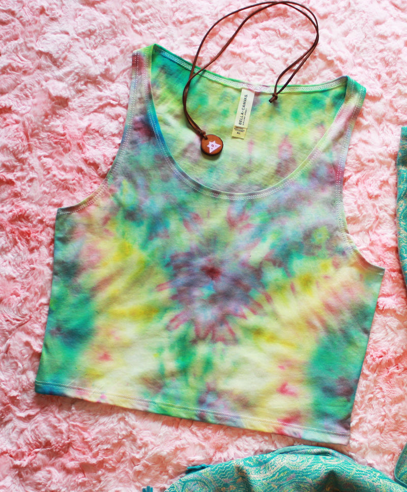Acid Trippy Tie Dye Crop Top T-Shirt