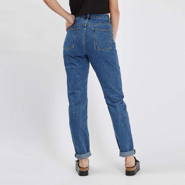 Mid Rise Floral Embroidered Mom Jeans