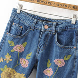 Mid Rise Floral Embroidered Mom Jeans - Feelin Peachy