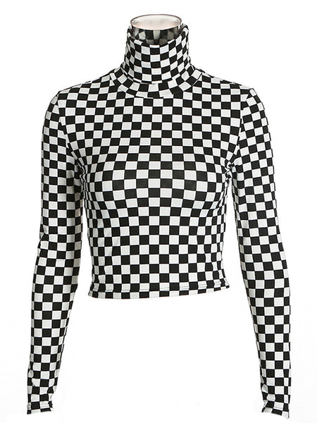 Checkered Long Sleeve Turtleneck Cropped Top