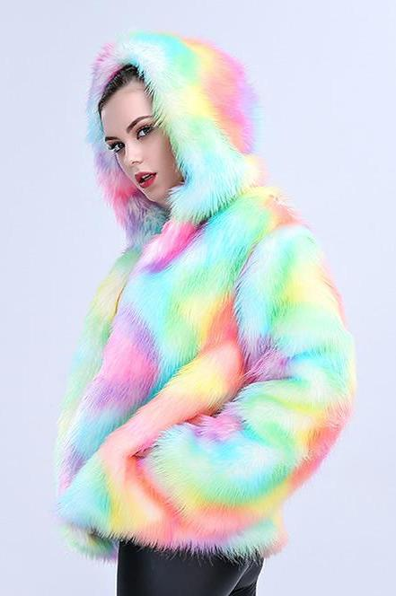 Trix Colored Faux Fur Coat