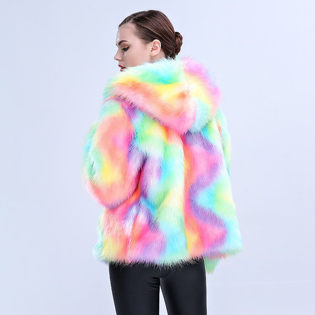 Rainbow Faux Fur Coat