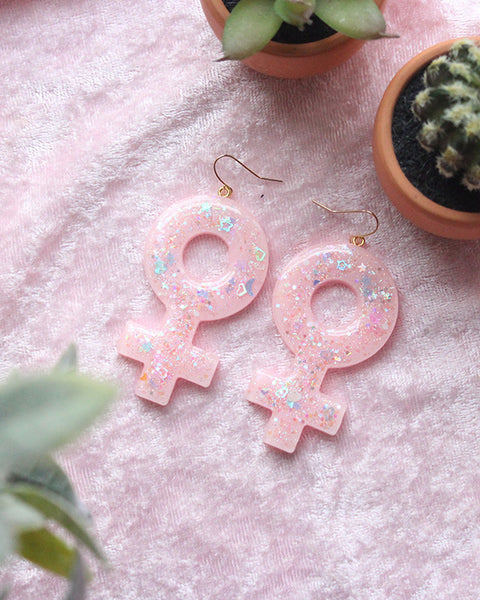 Kawaii Pastel Pink Large Female Venus Symbol Dangle Earrings/Girl Power/feminist - Feelin Peachy