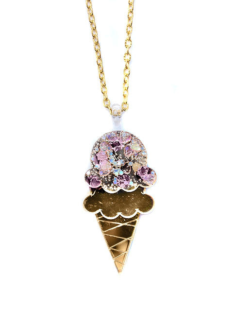 Gold Mirror Ice Cream Acrylic Pendant Necklace - Feelin Peachy