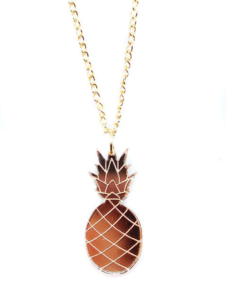 Gold Mirror Pineapple Acrylic Pendant Necklace