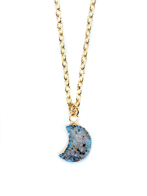 Gray Ombre Crescent Moon Druzy Charm Necklace - Feelin Peachy