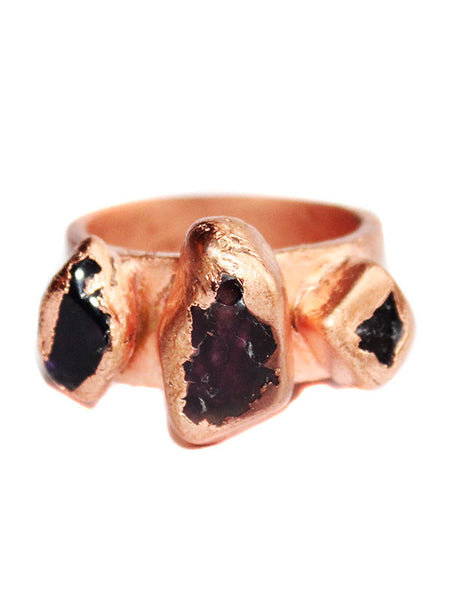 Raw Amethyst Copper Statement Ring