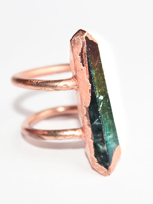 Aqua Aura Rainbow Electroformed Copper Statement Ring - Feelin Peachy