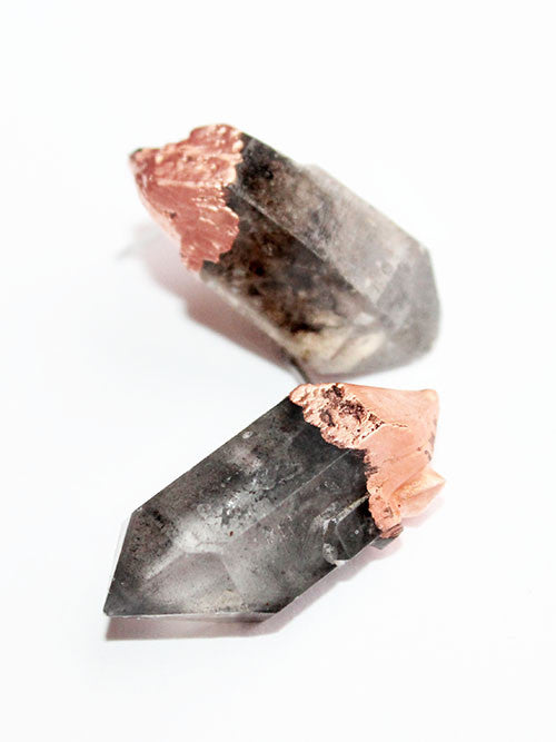 Phantom Quartz Copper Stud Earrings