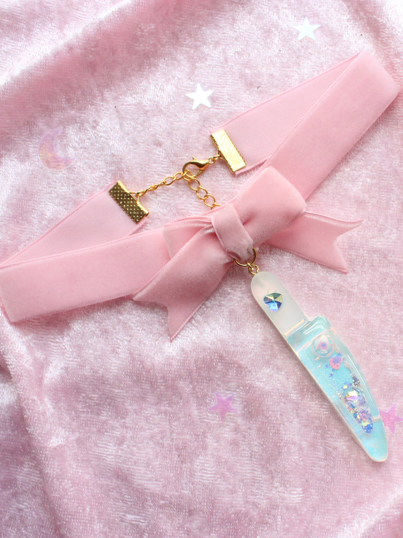 Cute Holographic Knife Shaker Pink Velvet Bow Choker♡One Of Kind♡