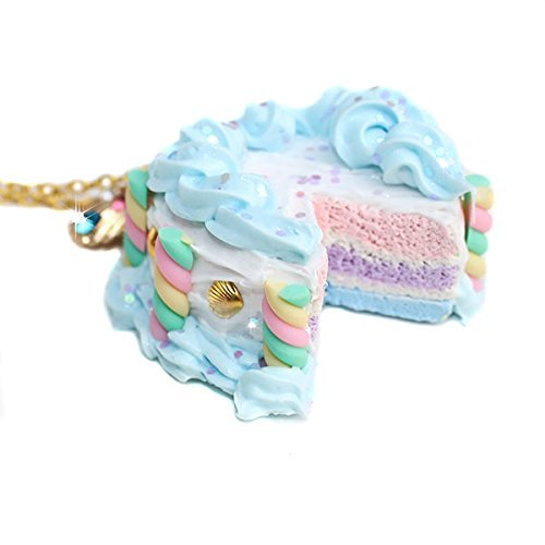 Miniature Pastel Rainbow Marshmallow Cake Dessert Seashell Rhinestone Pendant Necklace - Feelin Peachy