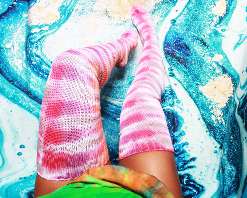 Tie Dye Thigh High Socks- More Colors