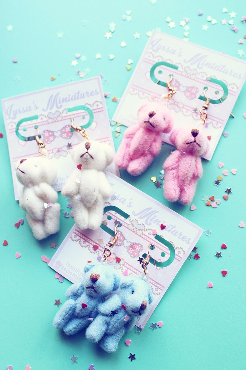 Kawaii Pastel Teddy Bear Dangle Earrings - Feelin Peachy