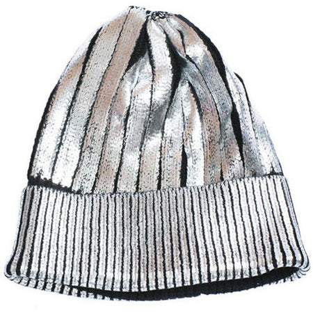 Metallic Rainbow Pom Beanie Hat