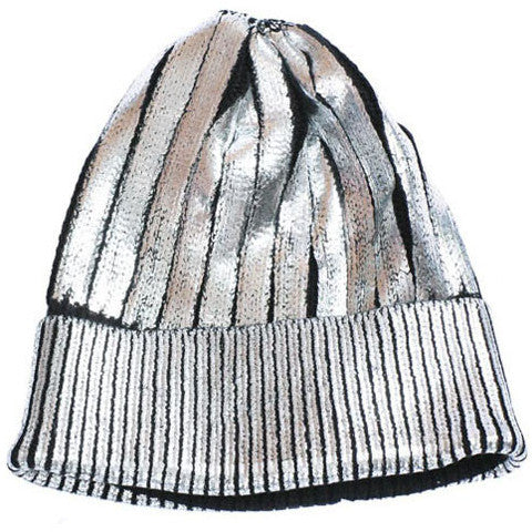 Foiled Metallic Knit Beanie Hat - Feelin Peachy
