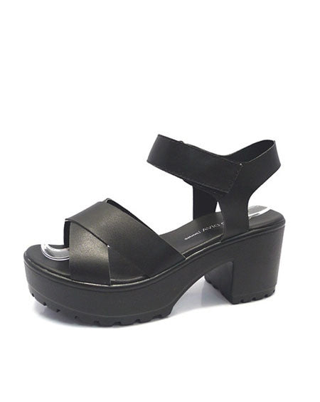 Simple Vegan Leather Platform Sandals