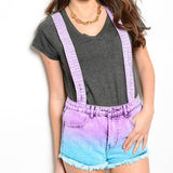 Ombre Purple & Blue Dyed Overall High Waisted Denim Shorts - Feelin Peachy