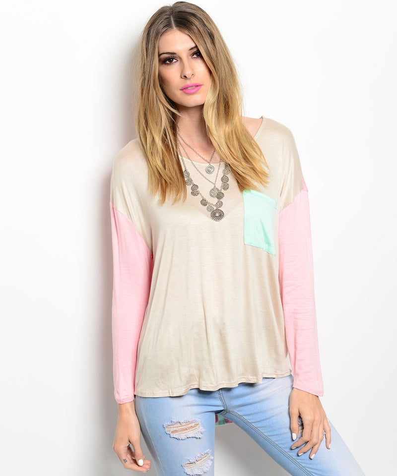 Oversized Sheer Knitted Long-sleeve Top - Feelin Peachy