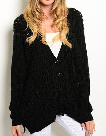 Lila Black Spiked Button Down Cardigan