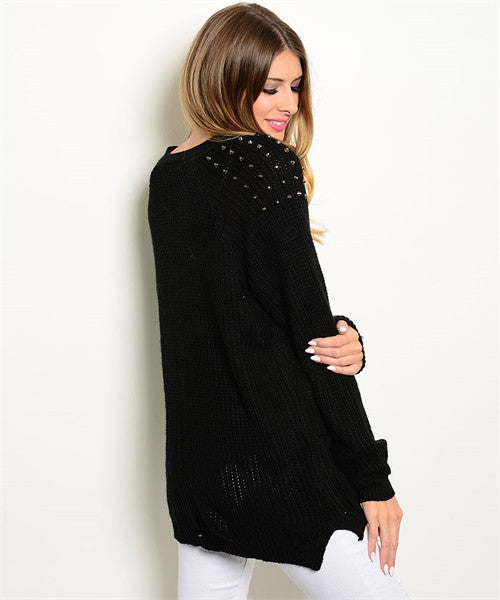 Lila Black Spiked Button Down Cardigan - Feelin Peachy