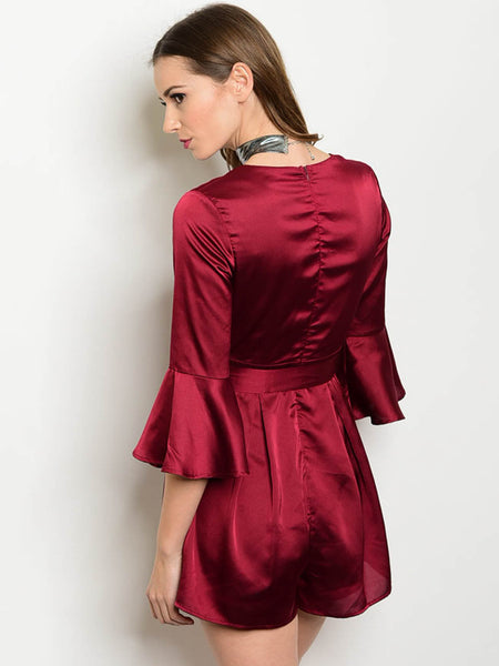 Emma Satin Bell Sleeve Romper- Wine Red