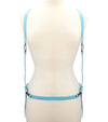 Power Blue Leather Strap Body Harness