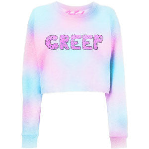 CREEP Printed dyed Pink and Blue Cropped Sweatshirt - Feelin Peachy