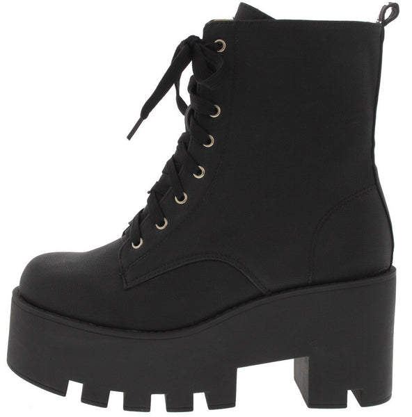 Black Platform Lace Up Boots